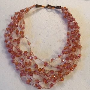 Vintage faced glass beads copper necklace